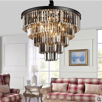 T American Style Crystal Pendant Light Iron Retro Gold Circular Lamps For Hotel Living Room Restaurant