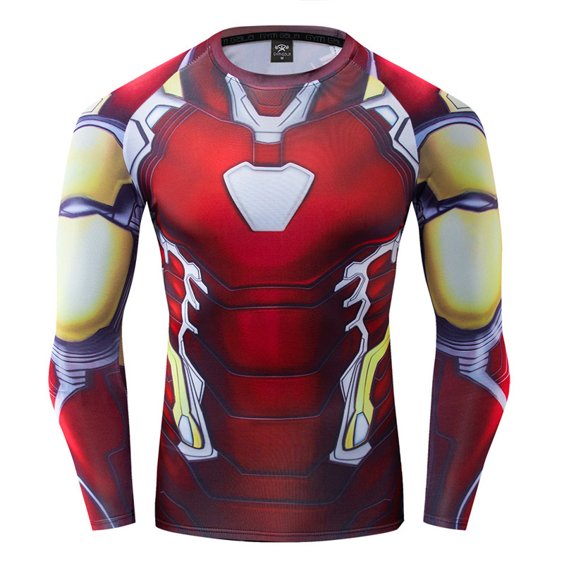 New Avengers 4 Iron Man Tony Stark Cosplay 3d Marvel T-Shirt Fitness Tshirts Men Compression Shirt