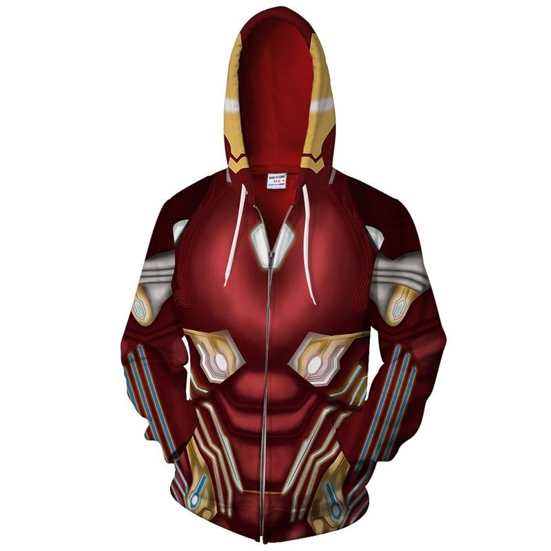 2018 new iron man 3d jacket Cool men women zipper hoodie sweatshirt Fashion Streetwear superman Sweatshirt hip hop tops US size