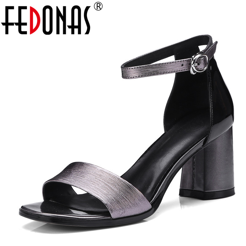 FEDONAS 2018 Fashion Women Sandals Female Sexy Ankle Strap High Heels Party Shoes Ladies Stiletto Genuine Leather Shoes Woman flock leather women ankle strap high heel sandals platform sexy fashion party shoes for woman black with 10cm heels ch a0060