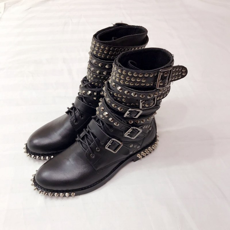 Plus Size Hot Autumn Winter Shoes Woman Punk Studded Side Buckle Boots Designer Woman Casual Rivets Boots Woman Boots Tide Shoes