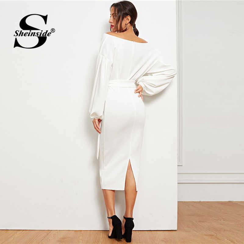Sheinside White Elegant Drop Shoulder V Neck Puff Sleeve Dress Women Spring Casual Belted Wrap Party Dresses Split Pencil Dress