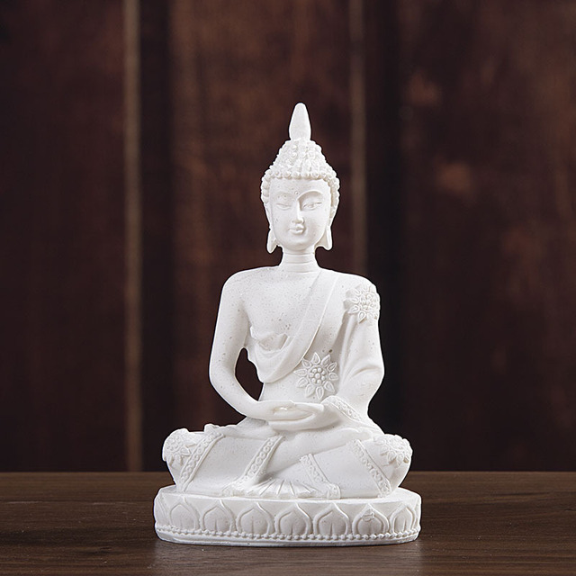VILEAD 11cm Nature Sandstone India Buddha Statue Fengshui Sitting Buddha Sculpture Figurines Vintage Home Decor Use for Aquarium 5