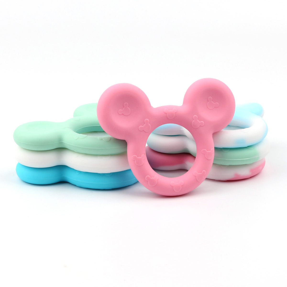 Food Grade Silicone Baby Teether Animal Baby Teething Toys Mickey Head Teether Ring Bpa Free Baby Chew Toy Soft Safe Baby Stuff duck animal series many chew toy