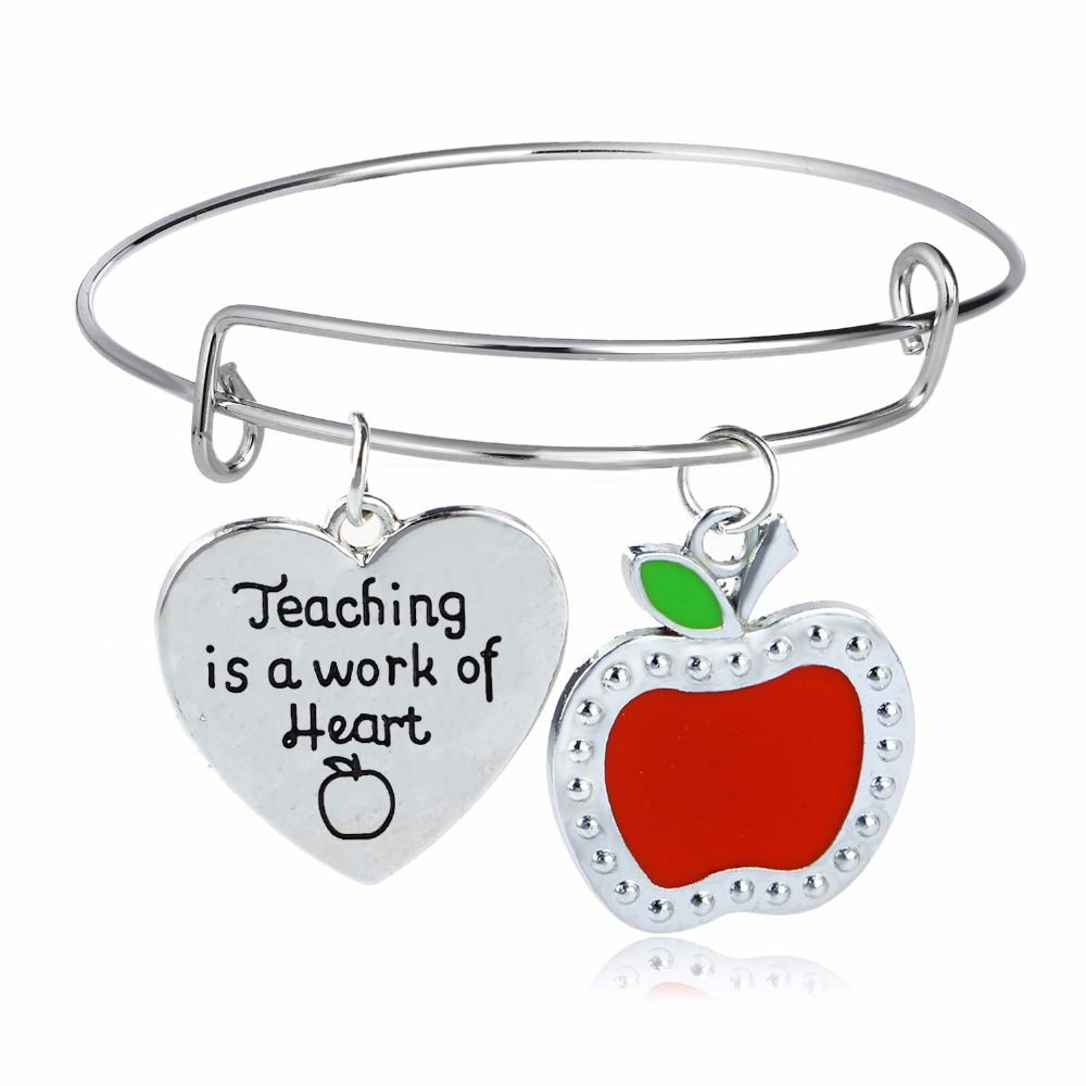 12PC/Lot Fashion Apple Charm Teaching Is A Work Of Heart Teacher Bangle Teachers Bracelet School Party Jewelry Wristband Gifts