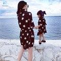 Combinação mãe filha roupas estrelas vestido meninas vestido de manga comprida lapela família roupas combinando mamãe e me roupas 20