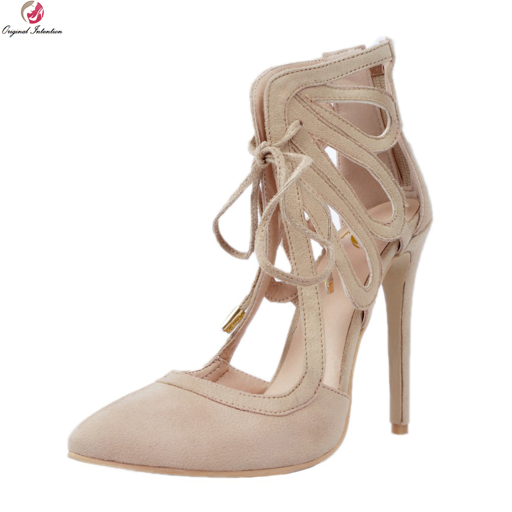 Original Intention New Design Women Sandals Pointed Toe Thin Heels Sandals High-quality Beige Shoes Woman Plus US Size 4-15 new 2017 spring summer women shoes pointed toe high quality brand fashion womens flats ladies plus size 41 sweet flock t179