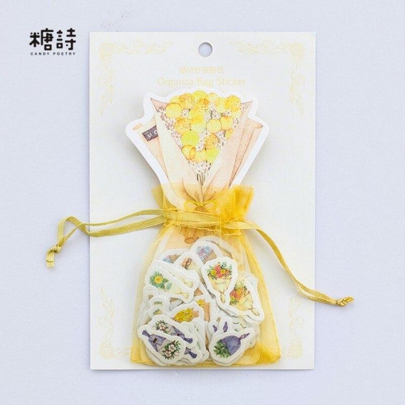 100pcs/bag Yarn bag Beautiful bouquet flowers paper sticker Album scrapbooking diary diy decoration children favorite stationery