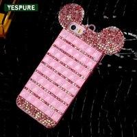 YESPURE Fantezi Bling Elmas Mobil Arka Kapak iphone 7 artı Shinning Sevimli Fare Kulaklar Kız Lüks Telefon Kılıfları Aksesuarları