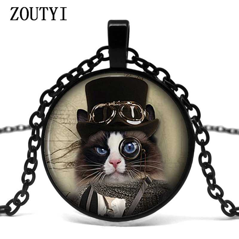 2018/ Alice in Wonderland Cheshire County Kitten Steampunk Necklace Pendant Handmade Female Jewelry