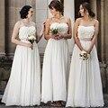 New White Chiffon Bridesmaid Dress 2016 Robe Court Devant Longue Derriere Cheap Long Party Dresses