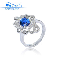 Natural Sapphire Rings Round Cut Genuine 925 Sterling Silver Ring Fashion GW Fine Jewelry For Women