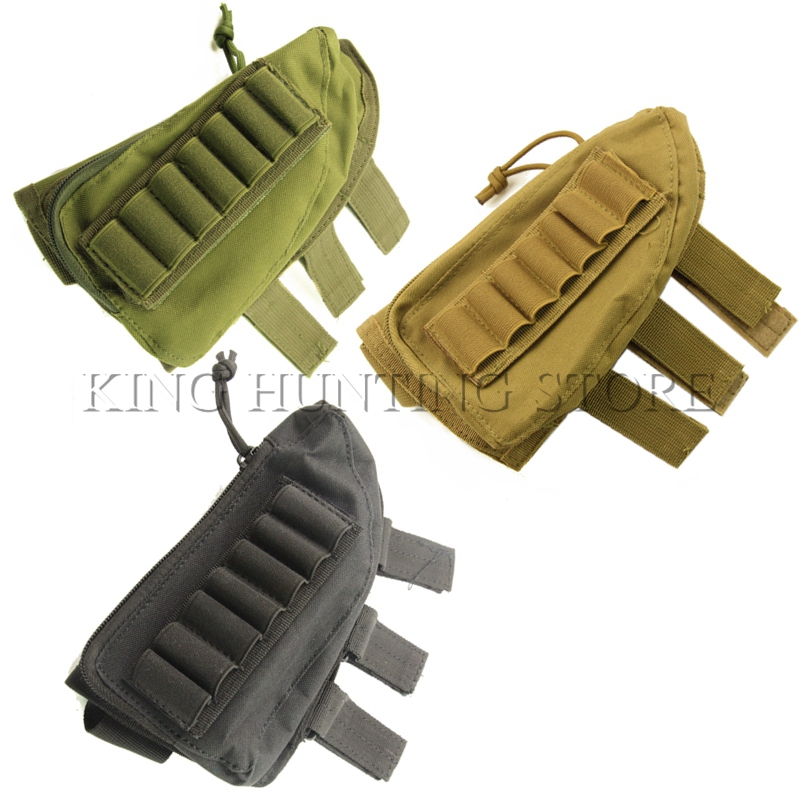 Tactical Nylon Shotgun Ammo Pouch Hunting Bullet Pouch 12 Shells Butt Stock Shell Cartridge Holder Ammo Carrier new 30 50 cal metal ammo can military and army m19a1 all metal box for long term storage by solid tactical bullet box ammo case