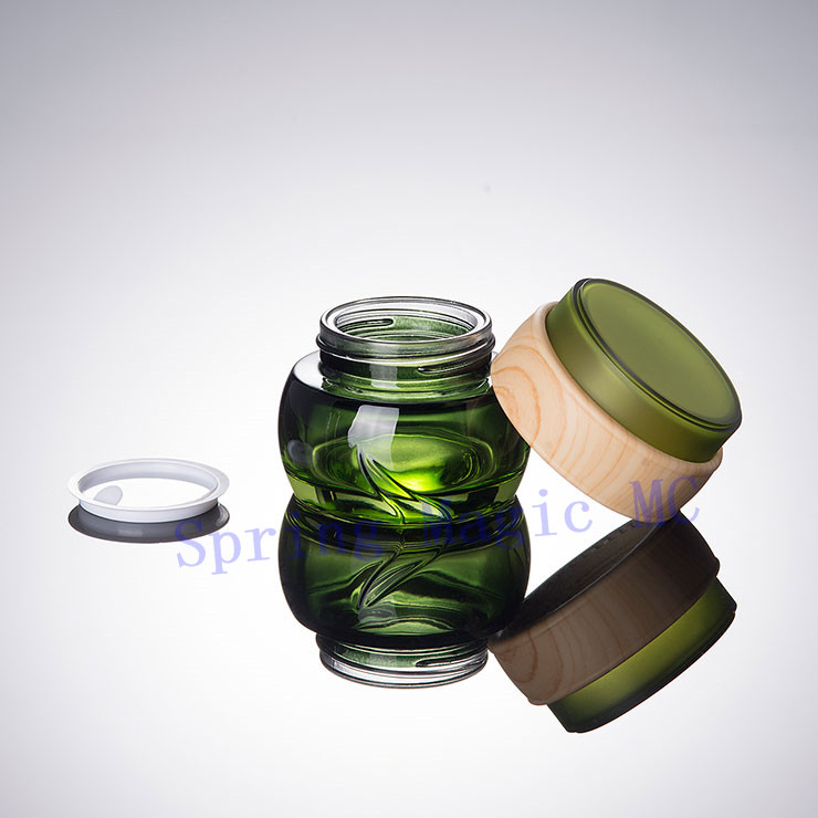 NEW 50G Green Glass Cream Bottle with Wood ring lid cosmetic container For Mask serum Essence