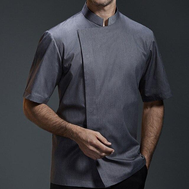 Black White Gray Short Sleeve Shirt Barista Hotel Restaurant Kitchen Chef Uniform Summer Bistro Baker Bar Catering Work Wear B89