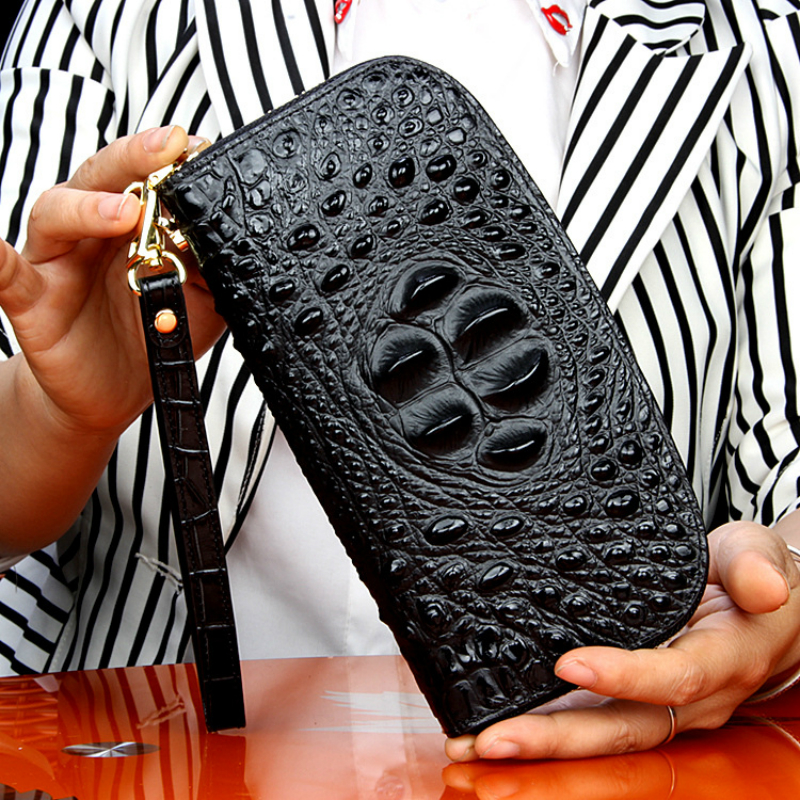 High Quality Real 100% Crocodile Leather Women Long Wallet Fashion Luxury Noble Female Clutch Purse Coin Credit Card Money Bag fashion girl change clasp purse money coin purse portable multifunction long female clutch travel wallet portefeuille femme cuir