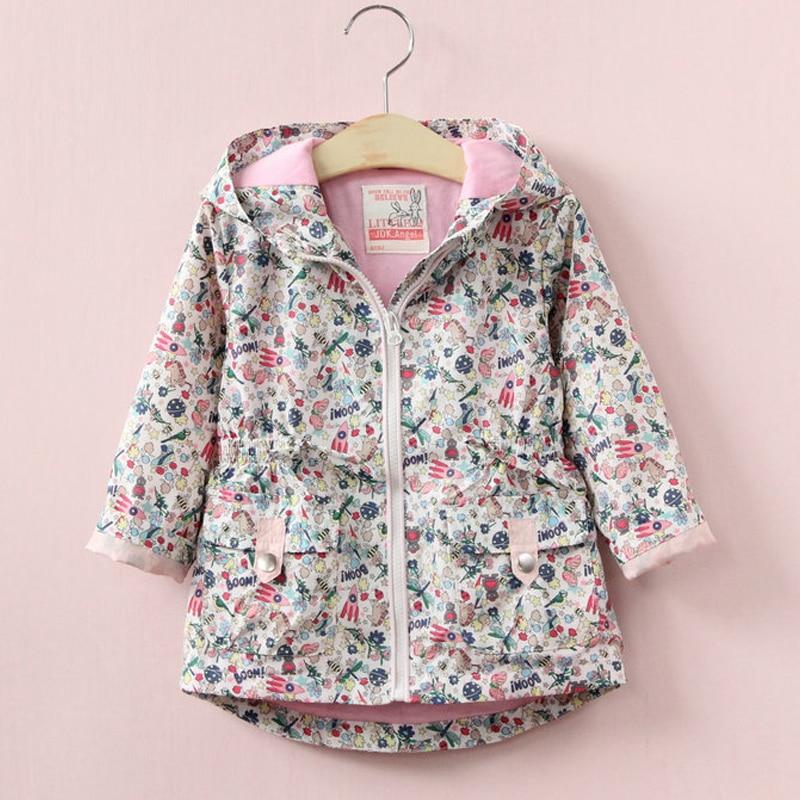 VORO BEVE 2017 Spring Kids Clothes Girls Jackets Outerwear Coats Toddler Clothes hooded Flower Children Jacket