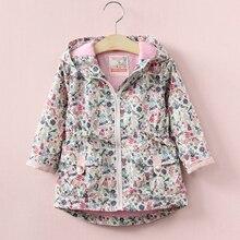VORO BEVE 2017 Printemps Enfants Vêtements Filles Vestes Manteaux Bébé Vêtements à capuchon Fleur Enfants Veste pour les Filles vêtements