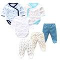 6 шт./партия, Одежда для новорожденных и малышей, весенне-осенние хлопковые комбинезоны для детей + штаны для малышей, комплекты одежды для ма...