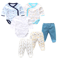 6 PCS /Lot Baby Boys Girls Clothes Newborn Toddler Infant Spring Autumn Cotton Baby Bodysuits+ Baby Pants Baby Clothing Sets