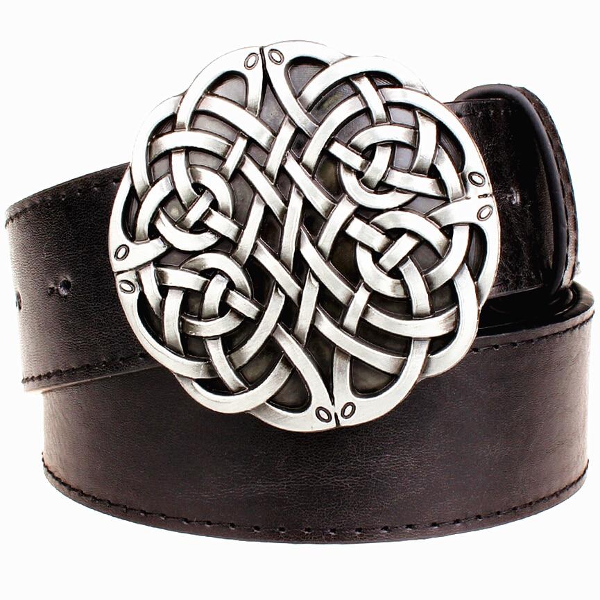 Fashion leather   belt   Celtic knot series metal buckle geometric weave pattern men simple casual   belts   trend women jeans   belt