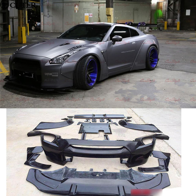 gtr gt r r35 lb car body kit carbon fiber frp wide body kit front