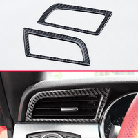 Car Styling 2/Set Dashboard Side Air Vent Outlet Genuine Carbon Fiber Trims For Ford 2015 18 Mustang Interior Cover Accessories