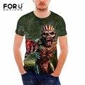 Drop dead forudesigns iron maiden impresión nuevos hombres camiseta de la banda de rock 3D Camiseta de La Manera Negro Heavy Metal Campana Cráneo Hombres TOP Tee