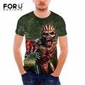 FORUDESIGNS Drop Dead Iron Maiden Printing New Men T-shirt Rock Band 3D Fashion T-shirt Black Heavy Metal Bell Skull Men TOP Tee