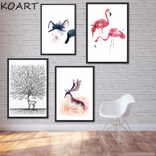 Kawaii animales gato dormir ciervos pintura cuadros cartel lienzo ...