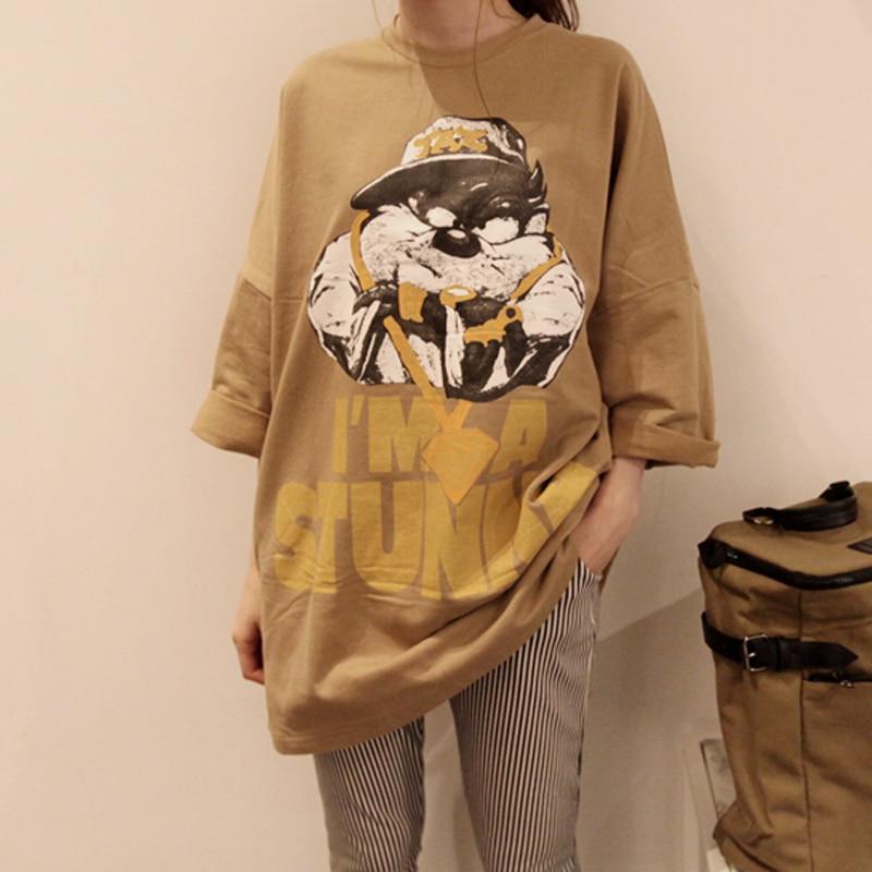 2017 Blusa Casual Fashion Brand Women Spring/autumn Long Style Anime Bear Tops/tees Plus Size T Shirt Camisetas Femininas Khaki Utmost In Convenience