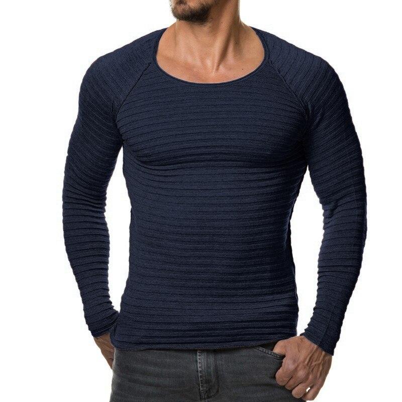 Свитера, пуловеры Для мужчин 2018 мужские брендовые Повседневное тонкий Свитеры для женщин Для мужчин soild Цвет вертикальные полосы хеджирования О-образным вырезом Для мужчин свитер xxxl