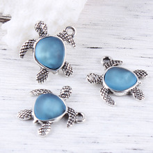Buy glass turtle pendant and get free shipping on aliexpress doreenbeads zinc based alloy antique silver glass 5 pcs mozeypictures Images