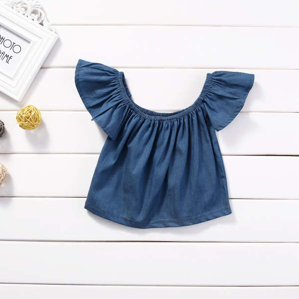 Princess Kids Baby Girls Blouse Summer Style 2017 Fashion Short Sleeve Off Shoulder Blouses Shirt Tops Tees Demin Blue