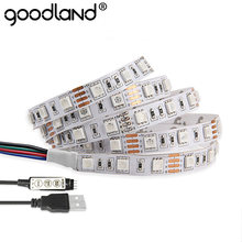 DC5V RGB Cable USB LED tira de luz 5050SMD Navidad Flexible TV Fondo 3 teclas Mini remoto 50CM 1M 2M tira de neón cinta(China)
