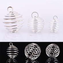 30 pces liga espiral talão gaiolas pingentes artesanato jóias fazendo descobertas prata-cor