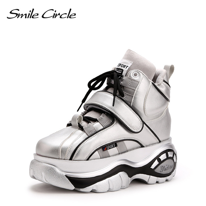 Smile Circle chunky Sneakers Women fashion Lace-up High-top Flat platform shoes For Women Thick bottom Wedge sneakers 2017 british style women casual shoes street snap low top platform wedge shoes black white lace up thick bottom shoes women