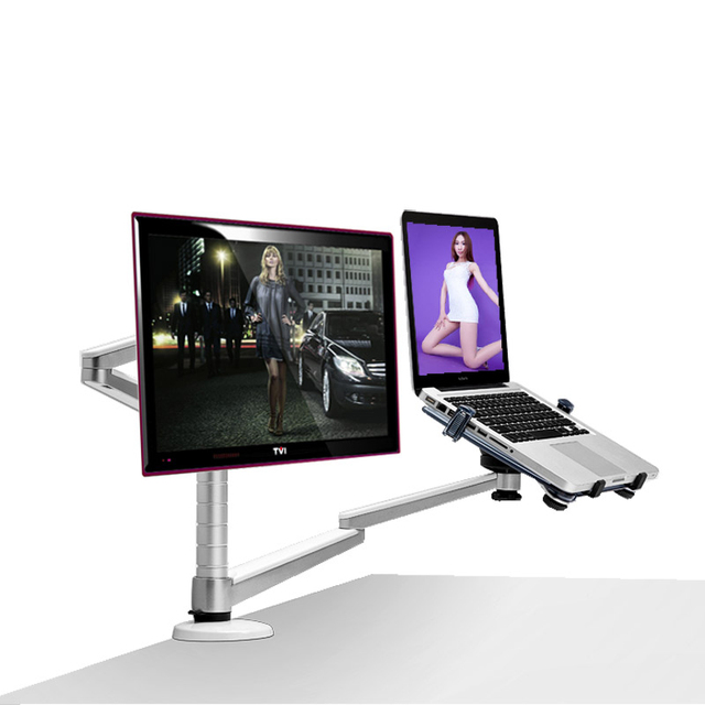 Multimedia de escritorio dual arm 25 pulgadas lcd monior holder + titular de soporte de mesa portátil full motion dual monitor de soporte de montaje del brazo