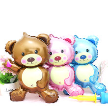 1 Pc Mini Cartoon Bear Foil Balloon Birthday Party Balloon Decoration Valentine's Day Wedding Supplies ballo(China)