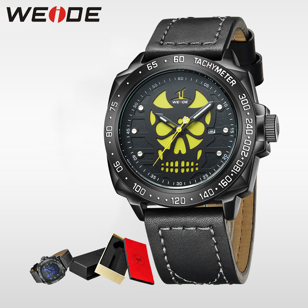 WEIDE Genuine luxury Brand Men Watch Analog Date Leather Strap Clock sport Waterproof Quartz Watch Masculino Halloween watch weide casual genuine luxury brand quartz sport relogio digital masculino watch stainless steel analog men automatic alarm clock