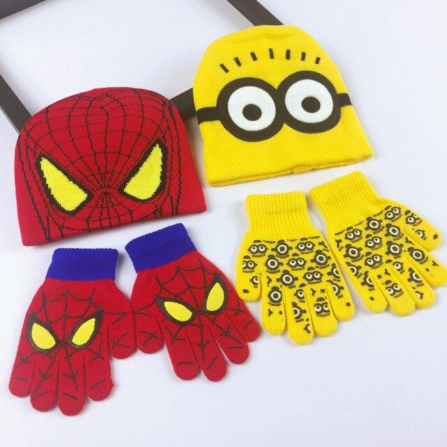 022da93179d 2018 Autumn Winter Girls Boys Hat Set Cartoon Warm SpiderMan Cap knitted  Hat Gloves Children Kids Baby Hat Sets COSPLAY