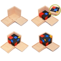 2018 Early Learning Educational Toys Montessori Wooden Trinomial Cube for Toddlers Preschool Training Learning Toys Kids Gifts