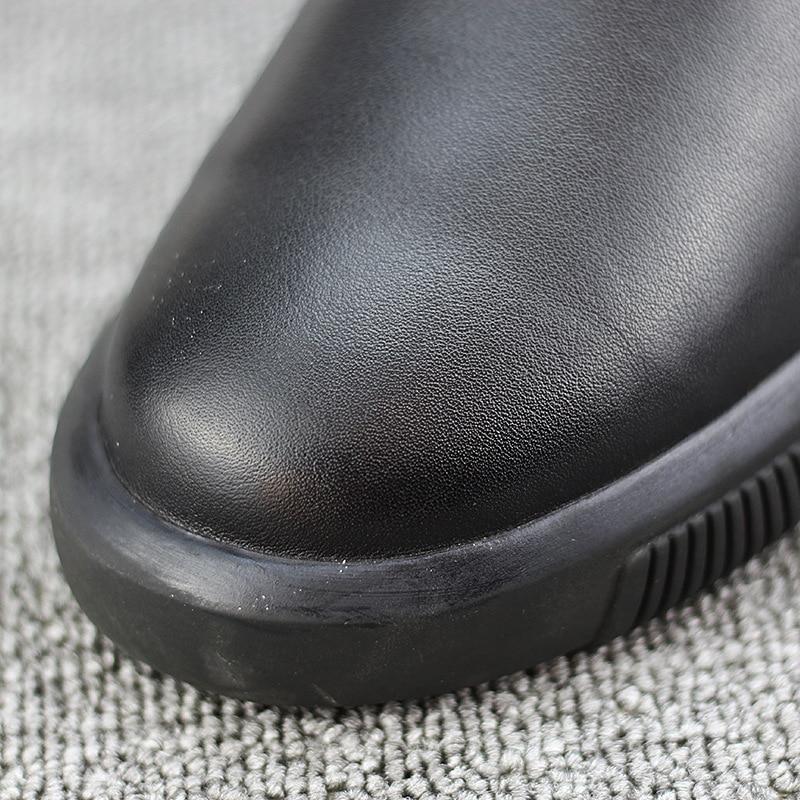 a43d622c61 Inverno D' Slip À Sapato Botas Velvet Água prova Prova Homens Casaco Mens  Neve Black Quente Homem Couro Bota preto De Algodão Dos Pé Novo n7H6wvvq0