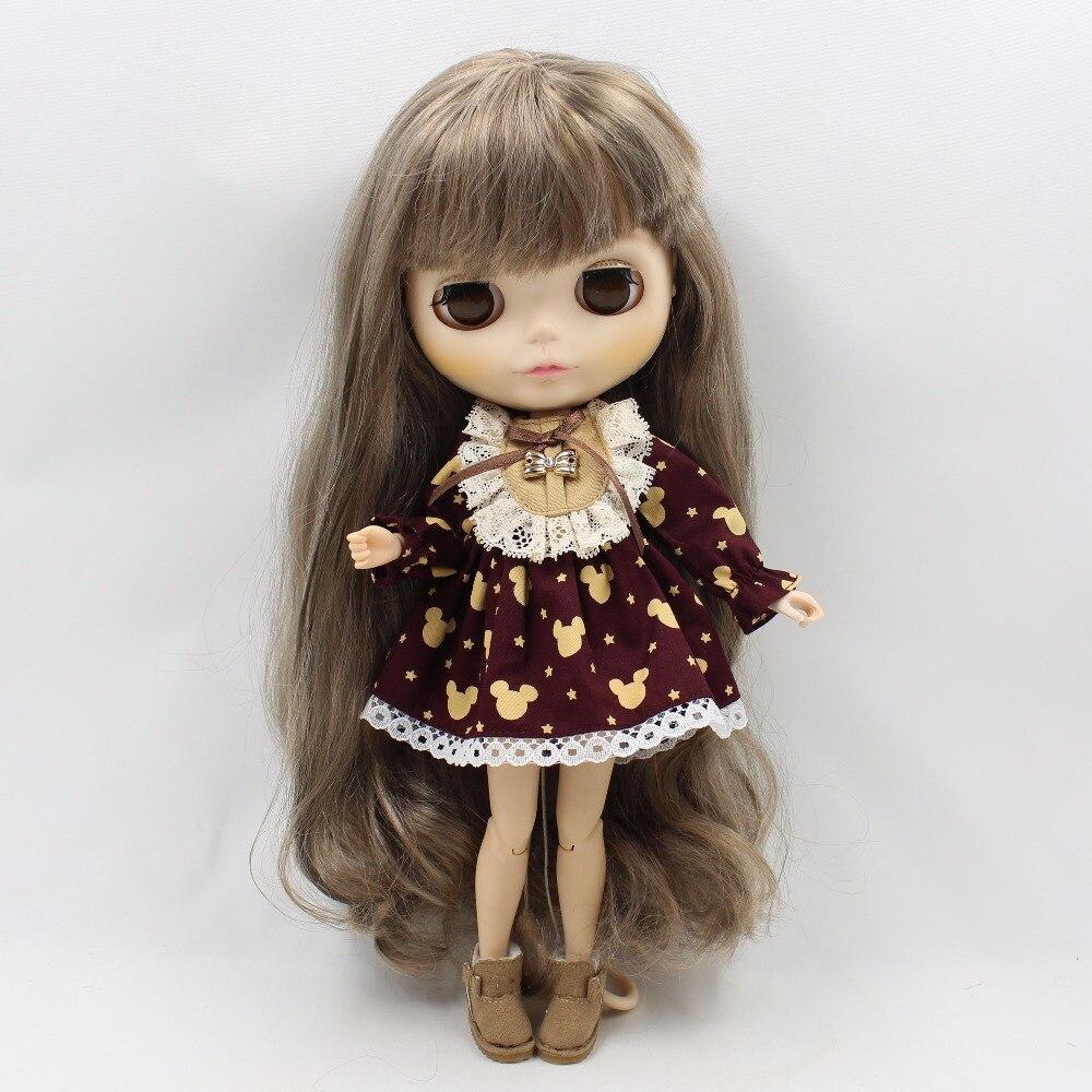 Neo Blythe Doll Vintage Lace Mickey Mouse Print Dress 2