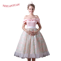 NIXUANYUAN New Custom Made Strapless Tea Length Ball Gown Lace Prom Dress 2017 Short Party Dress vestidos de baile With Sashes