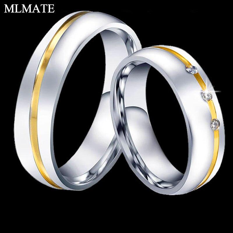 1 Pc Mode Männer/frauen 6mm 316l Edelstahl Kristalle Hochzeit Band Paar Ringe GroßE Sorten