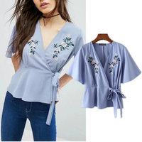 201 Summer New Classic Elegant Foral Embroidery Crossing Ties Light Blue Shirts V Collar Pure And