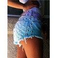 2016 Marca de Moda Remache Borla de La Vendimia de Las Mujeres Ripped Flojo de Talle Alto Short Jeans Punk Sexy Mujer Caliente Pantalones Cortos de Mezclilla H075