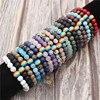 Natural Stone LGBT Pride Strand Couple Rainbow Bracelets Handmade Jewelry