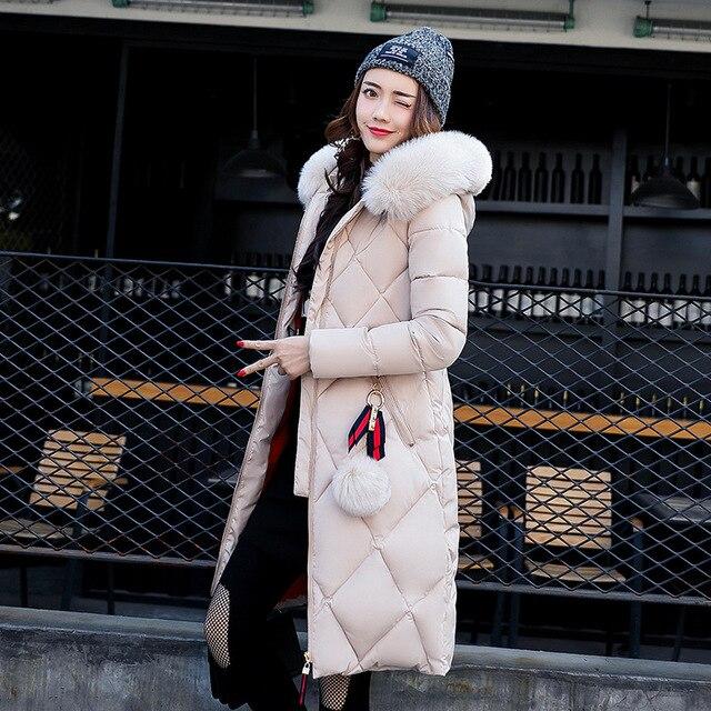 DUOYANG 2018 femmes veste manteau De Mode d'hiver vestes femmes long down plus la taille à capuchon occasionnel coton outwear